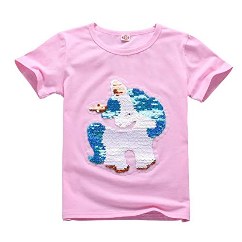 Girls Kids Unicorn Magic Sequins T-Shirts Cotton Crew Casual Tee Tops