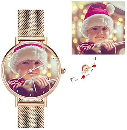 Reloj Personalizados con Foto y Grabado Mensaje con Pulsera de Correa de Acero Inoxidable Reloj Cuarzo Ultra Delgada Regalo para Novios, Papá y Amantes