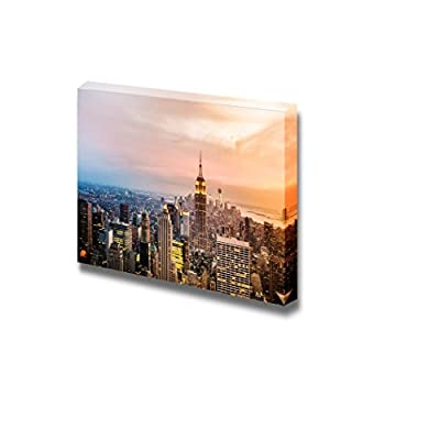 Amazing Technique, Classic Artwork, New York City Skyline with Urban Skyscrapers at Sunset
