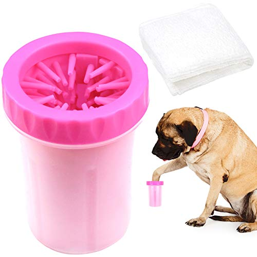 (Paw Legend Portable Dog Paw Washer with Towel - Pet Paw Cleaner for Dogs,Cats Grooming with Muddy Paws - Comfortable Silicone Dog Feet Cleaner(Pink, L))