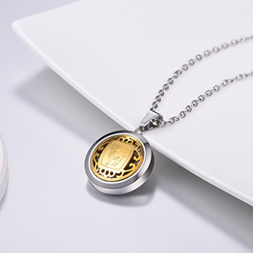amp; Necklace Prosteel 316l Hollow Aries Constellation Plated with Steel Gift Box Velvet Design Stainless 12 Pendant Gold XzzqCAw