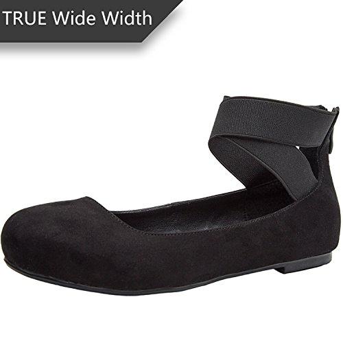 Luoika Women's Wide Width Flat Shoes - Elastic Cross Straps Slip On Round Toe Ballet Flats.(180302,Black MF,size10)