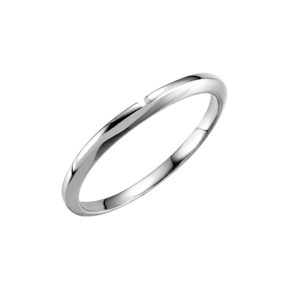FB Jewels 14k White Gold #2 Matching Wedding Ring Band with One-Notch Size 6