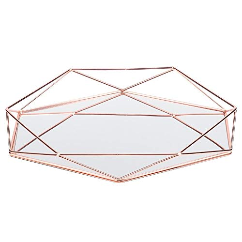 Yosooo Gold Mirror Tray, Jewelry Storage Tray Bathroom Sexangle Mirror Metal Gold Cosmetic Jewelry Storage Organizer Tray Box Plate(Rose red)