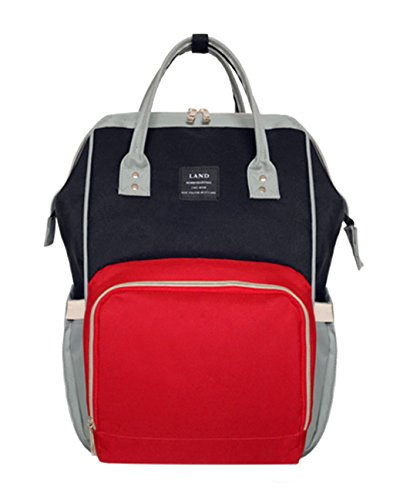 LAND Color Block Diaper Bag Backpack Water Resistant Travel