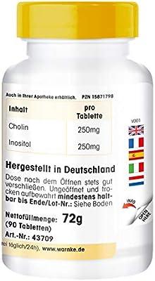 Colina + Inositol – Vegano – 90 comprimidos: Amazon.es: Salud y ...