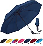 Rain-Mate Compact Travel Umbrella - Windproof, Reinforced Canopy, Ergonomic Handle, Auto Open/Close (Navy Blue)