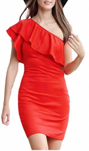 Randello Partito Jaycargogo Manica Bodycon Rosso Femminile Vestito Midi Volant Spalla qwxgAX7P