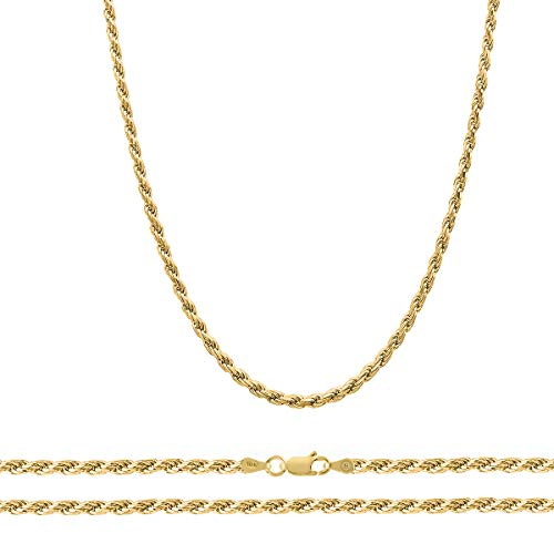 Orostar 10K Yellow Gold 3.5mm Diamond Cut Handmade Rope Chain Necklace, 16