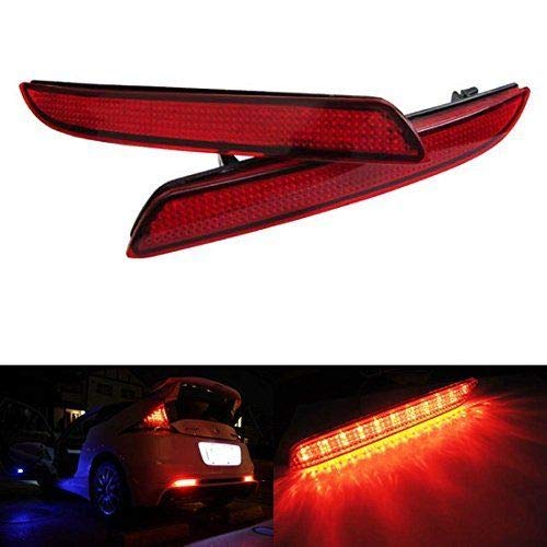 iJDMTOY Red Lens LED Bumper Reflector Lights for Honda CR-Z CR-V Insight Acura TSX Wagon ()