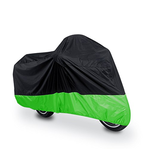 uxcell L 180T Rain Dust Protector Black+Green Scooter Motorcycle Cover 86