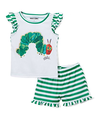 Eric Carle Girls' Toddler Hungry Caterpillar Book Ruffle 2pc Pajama Set, White, 5T