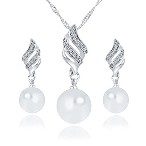 Women Jewelry Set, Inkach Luxury Ladies Girls Pearl Drop Necklace/Earrings Jewelry Kit (Silver) Diamond Pearl Drop Necklace
