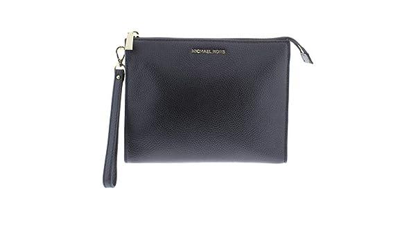 5e6e85cb8e49 Amazon.com  Michael Kors Womens Mercer Leather Travel Clutch Handbag Black  Medium  Clothing