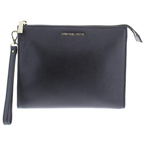 Michael Kors Womens Mercer Leather Travel Clutch Handbag Black Medium (Michael Kors Cosmetic Bag)