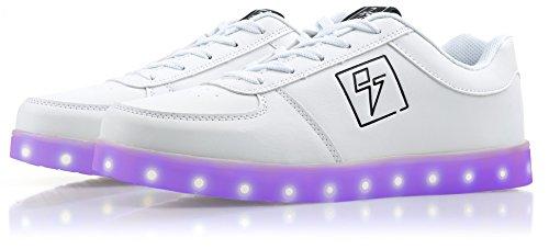 Light Up Shoes - Bolt Low Top, 12 B(M) US Women / 10 D(M) US Men White