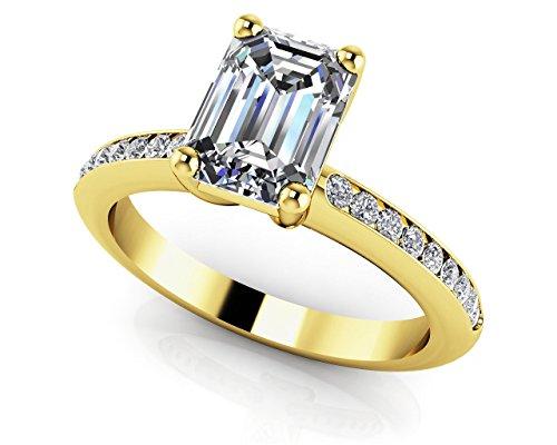 2.75ct Emerald Shape Simulated Diamond 10k YG Attractive Wedding-Engagement Ring ()
