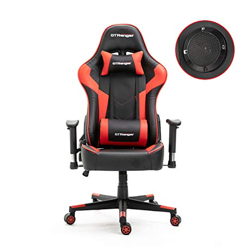 GTRanger Gaming Chair with Speakers Video Game Chair Racing Style Ergonomic Office Chair Adjustable Computer Desk Chair – Red & Black