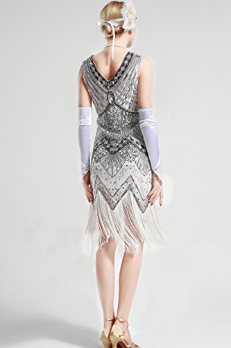 Anni Flapper 20 Donne Babeyond Dress 1920s Argento Vestito Abito Donna Gatsby anqUHp