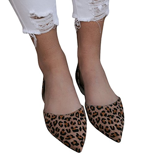 Womens Ballet Loafer Cut out Faux Suede Leopard Slip On Pointed Toe Flat Sandals Shoes by LAICIGO