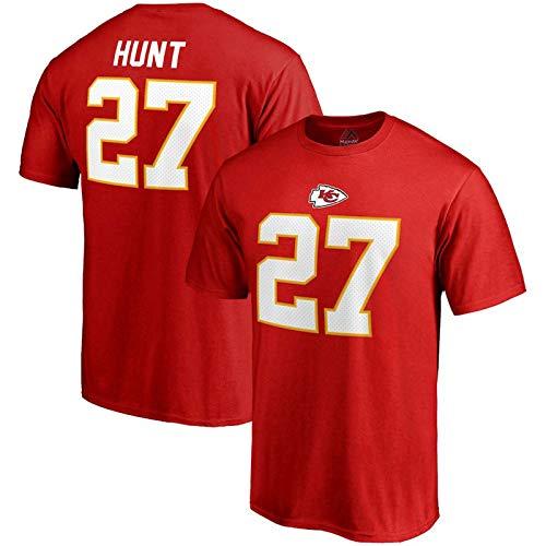 Majestic Athletic Mens #27 Kareem Hunt Kansas City Chiefs NFL Name & Number T-Shirt - Red (L)