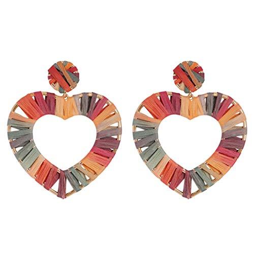 Moonite Women Bohemia Raffia Earrings Colorful Geometric Oval Earrings Handmade Rattan Jewelry