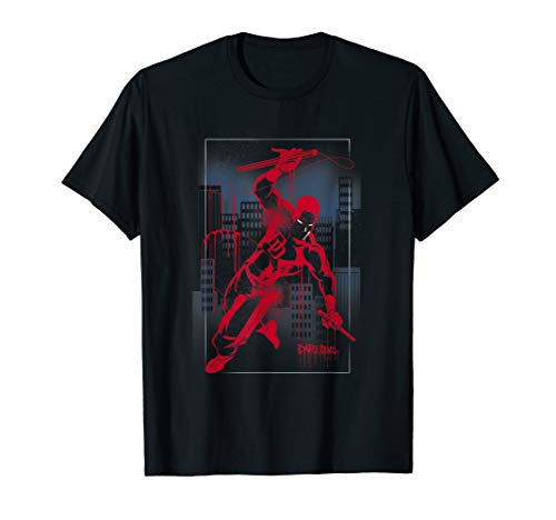 Marvel Daredevil City Skyline Graffiti Graphic T-Shirt