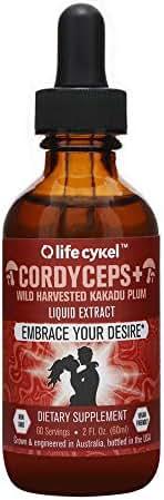 Life Cykel Cordyceps Mushroom with Australian Wild Harvested Kakadu Plum Liquid Extract - 2 fl oz. (60 Servings) - Make Everyday a Smooth Ride - Energy Support