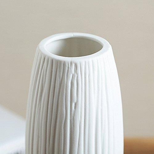 8 Pure White Modern Ceramic Vases Oval Waterfall Elegant Design