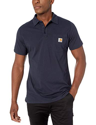 Carhartt Men's Force Cotton Delmont Pocket Polo (Regular and Big & Tall Sizes), Navy, X-Large
