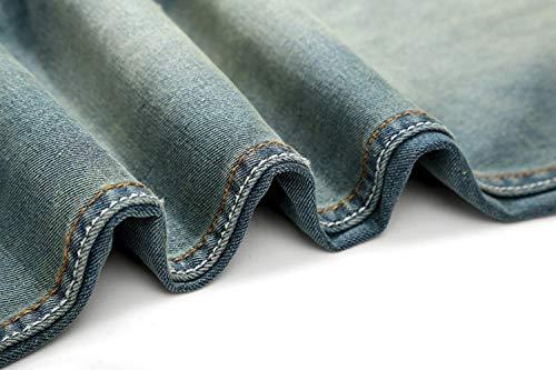 Media Da Di Vintage Chiaro Vita Moda Skinny Colore Strappati Uomo Casual Blu Eleganti Pantaloni A Jeans 6IUSnx4dWI