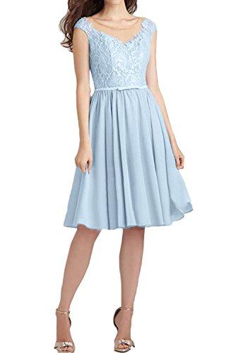 Festlich Brautjungfernkleider Abendkleider Ballkleid Himmelblau Spitze Ivydressing Damen Kurz RHH4qf