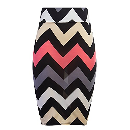 REPHYLLIS Women's Vintage Casual Flare Floral Striped Midi Pencil Skirt L Black