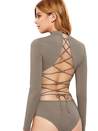 DIDK Women's Lace Up Open Back Long Sleeve Bodysuit Taupe L