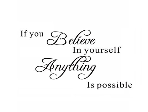 If You Believe in Yourself Anything is Possible Wall Sticker Decal Quote Wall Art Home Decor Removable DIY Stickers Sign Words Sticky Letters