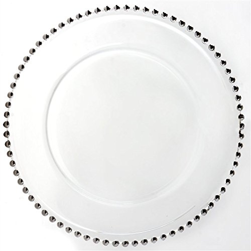 12 Inch See Thru Glass Charger Plate / Modern - Silver Rim
