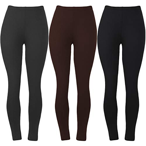 Womens Super Soft Leggings for Ladies Fashion Cute Spandex Seamless Ankle Pants Color Black Grey Brown Size XS S M Pack of 3