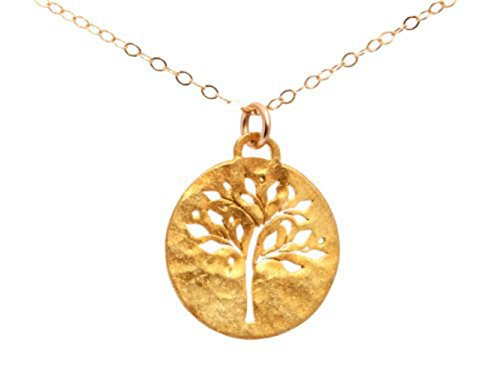 Tree of Life Necklace - Gold Plated Over Sterling Silver Family Tree Necklace For Mom on Gold Filled Chain, Mothers Day Gift. Perfect retirement gift!