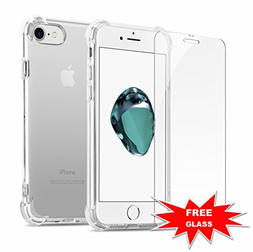 GuaGua Case Compatible with iPhone 7, iPhone 8 and Tempered Glass | 360 Protection - Shock Absorption Bumper | Soft TPU Cover Skin Cases for iphone 7/8 | Built-in Screen Protector Clear by GuaGua (Image #2)
