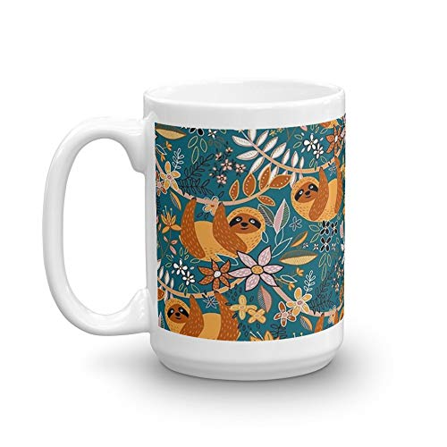 Happy Boho Sloth Floral 15 Oz Ceramic Coffee Mugs With C-shape Handle, Comfortable To Hold. 15 Oz Ceramic Glossy Mugs Gift For Coffee Lover (Soup Sienna)