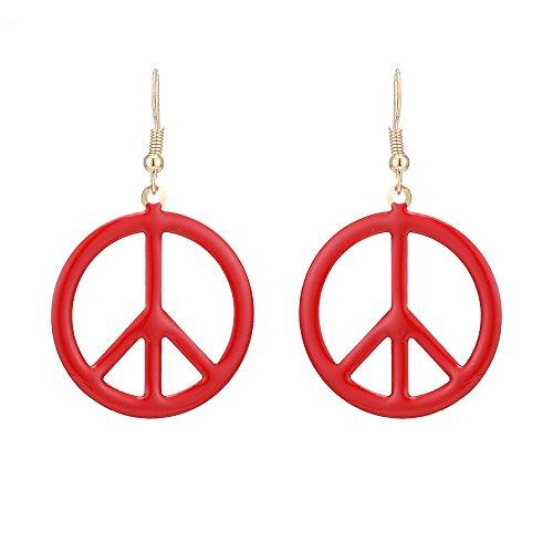 Brass peace boucles d'oreilles plaqué or ronde en émail rouge