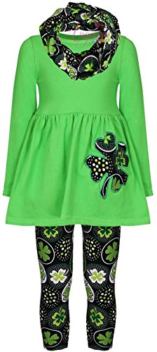 Angeline Boutique Clothing Girls ST Patrick's Day Shamrock Clover Outfit Set Green Dots 6/XL