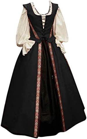 Centory Women Medieval Dress Renaissance Lace Up Vintage Gothic Clothing Plus Size Floor Length Cosplay Long Costumes Black