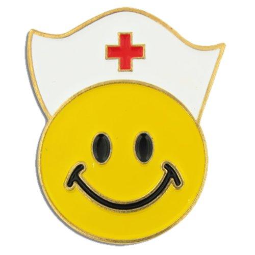 PinMart Yellow Smiley Face with Nurse Cap Nursing Enamel Lapel Pin