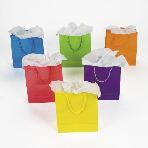 Fun Express Medium Neon Gift Bags, 2-Dozen, 9-Inch Tall Dozen Bag