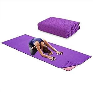 Yoga Mat Towel Microfiber No-Slip Yoga Mat Cover Towels Sweat Absorbent and Soft Lightweight 72 inch x 25 inch Green, Blue, Purple (Purple)