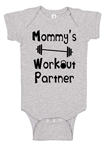 Reaxion Aiden's Corner - Mommy's or Daddy's Workout Partner Bodysuits - Funny Baby Boy & Girl Clothes (0-3 Months, Mom_Heather) -