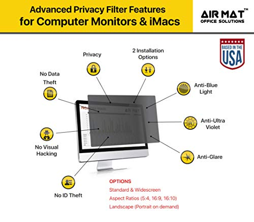24 Inch Privacy Screen Filter for Widescreen Computer Monitor/LCD (16:10 Aspect Ratio). Original Anti Glare Protector Film for data confidentiality - (24'' W10) - MEASURE SCREEN CAREFULLY by Air Mat (Image #4)