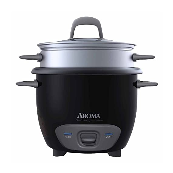 Aroma Arc Rice Cooker and Food Steamer, 3-Cup (Uncooked) 6-Cup (Cooked) 1 Can hold 1 to 3 cups of uncooked rice Perfectly prepares 2 to 6 cups of cooked rice and automatically keeps it warm for hours Steams vegetables and meat even while simultaneously cooking rice