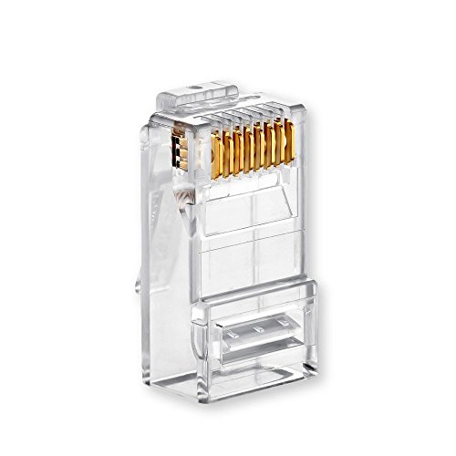 - Conwork RJ45 Connectors, Ethernet Network Crimp Ends UTP 8P8C Plug for CAT5 CAT5E CAT6 Stranded Cable (100-Pack)